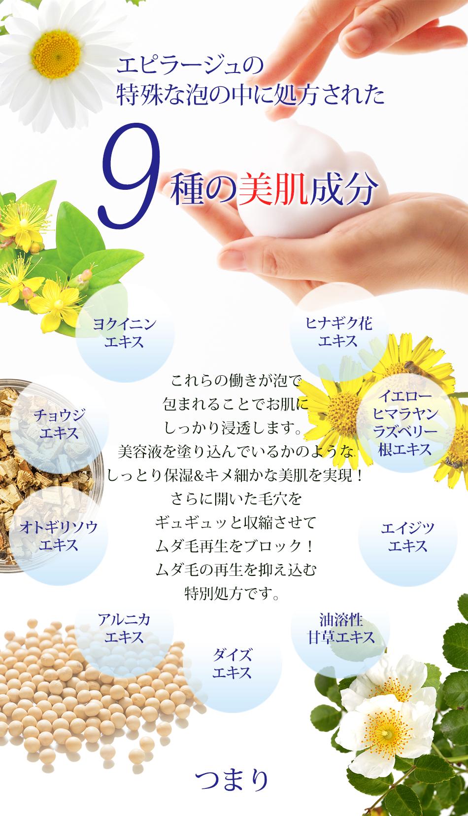 エピラージュの特殊な泡の中に処方された9種の美肌成分ヒナギク花エキス、イエローヒマラヤンラズベリー根エキス、エイジツエキス、油溶性甘草エキス(2)、ダイズエキス、アルニカエキス、オトギリソウエキス、チョウジエキス、ヨクイニエキスこれらの働きが泡で包まれることでお肌にしっかり浸透します。美容液を塗り込んでいるかのようなしっとり保湿&キメ細かな美肌を実現!さらに開いた毛穴をギュギュッと収縮させてムダ毛再生をブロック!ムダ毛の再生を抑え込む」特別処方です。つまり