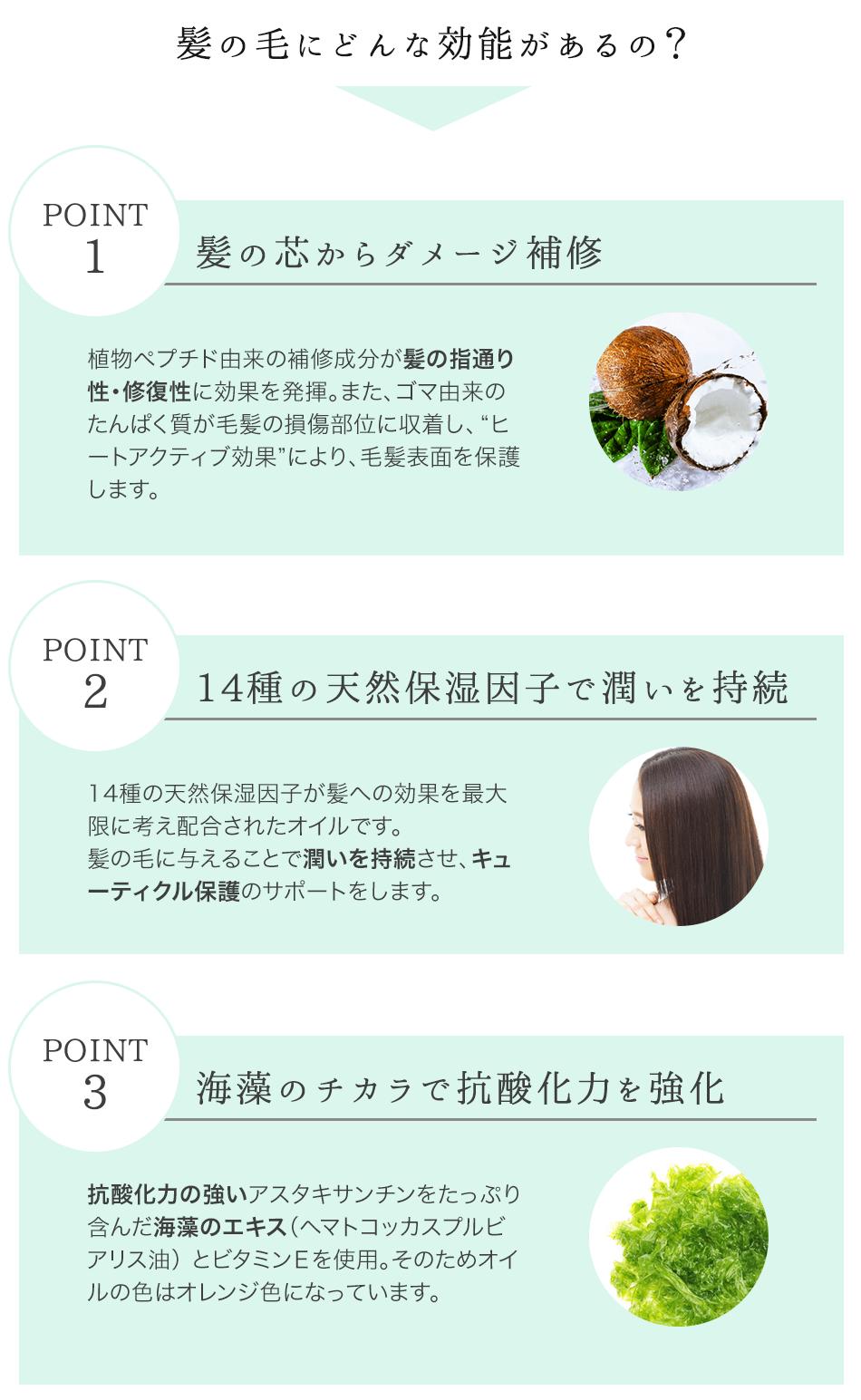 髪の毛にどんな効能があるの? POINT1 髪の芯からダメージ補修 POINT2 14種の天然保湿因子で潤いを持続 POINT3 海藻のチカラで抗酸化力を強化